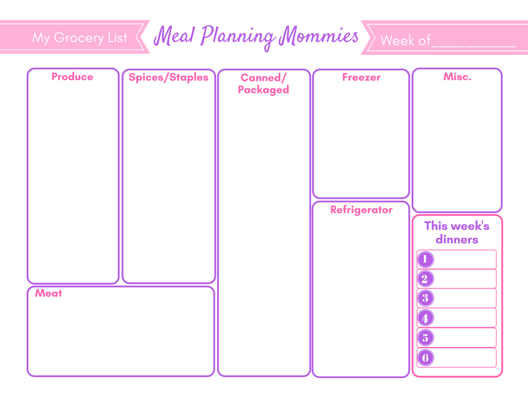 Free Updated Printable Meal Planning Pages Amp Grocery Lists