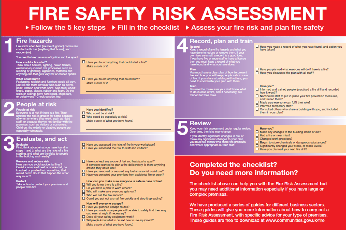 Fire Risk Assessment Checklist  Fire Safety    Fire
