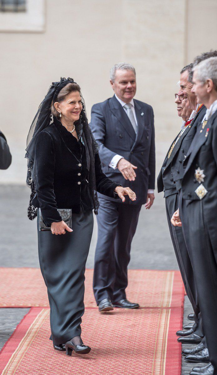 Queen Silvia received a humanitarian award when she arrived yesterday.