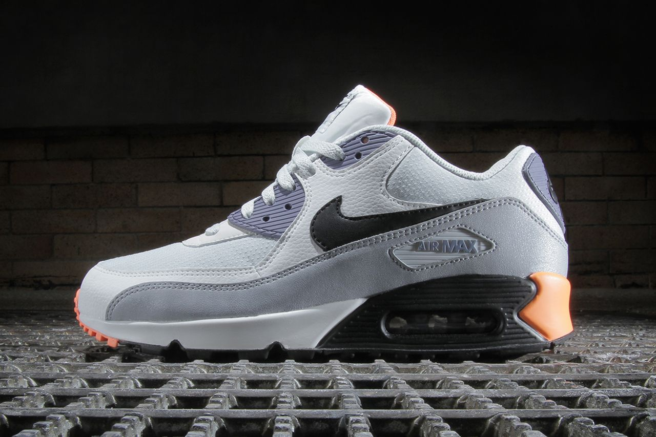 3749c429a6 Image of Nike Air Max 90 Essential Light Base Grey / Black–Iron Purple–Atomic  Orange
