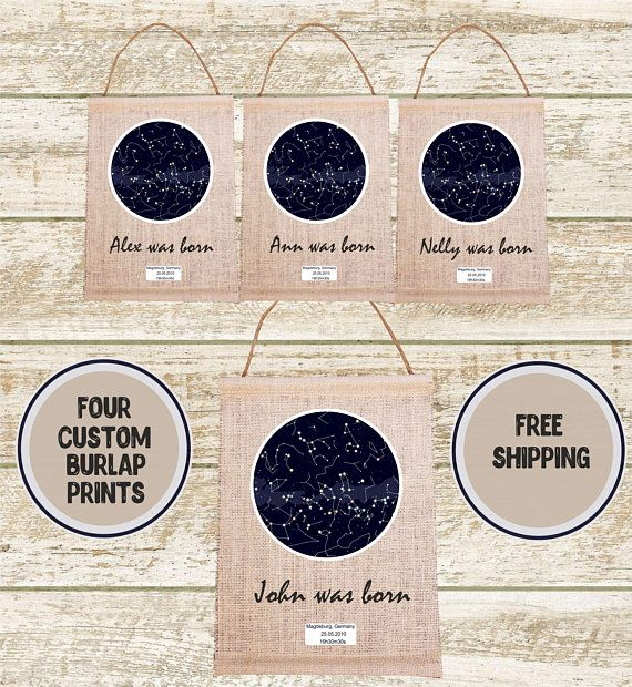 4 Location Star Map Constellation Chart Night Sky Birthday Gifts For Her New Mom Gift