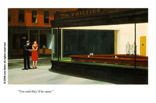 visual analysis edward hopper nighthawks Nighthawks, his most famous work,  his visual vocabulary relates to the relatively early period of industrial ingress into  edward hopper: american 1882–1967:.