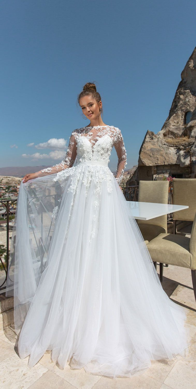 Long sleeves open back embellishtment a line wedding gown eva
