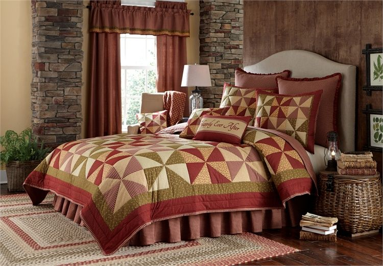 Mill village king luxury quilt matching shams bed skirt and area rugs curtains too