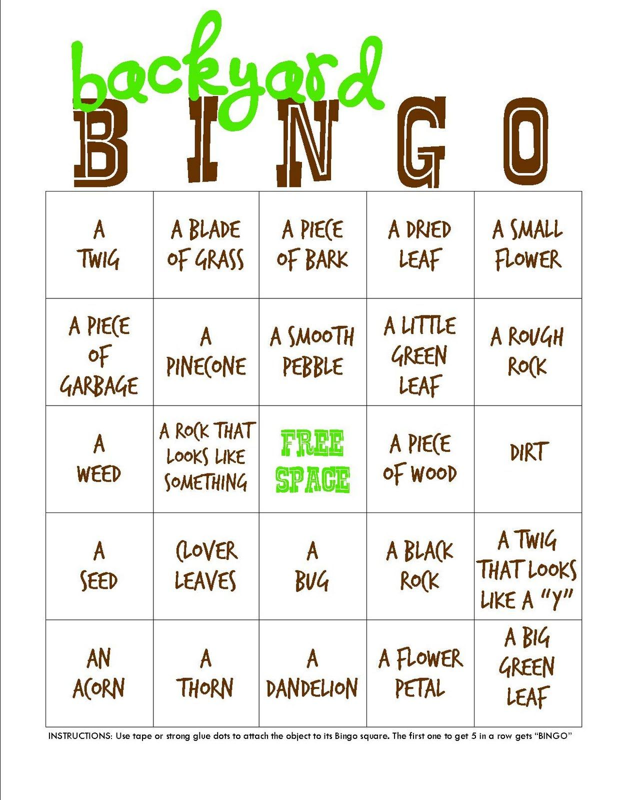 Backyard Campout Bingo Printable