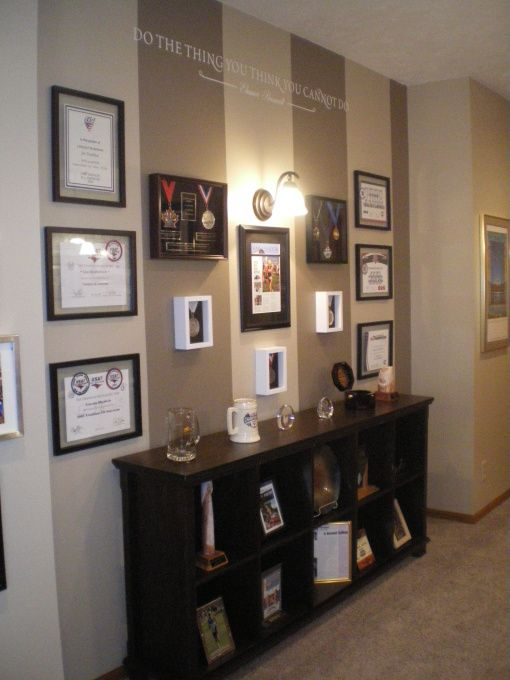 Very cute idea for displaying awards- I especially the ... Military Home Decor Wall Design on mid century modern wall design, inspirational wall design, curtain wall design, handmade wall design, decorating idea wall design, exterior home wall design, rustic log cabin wall design, quilting wall design, modern interior wall design,