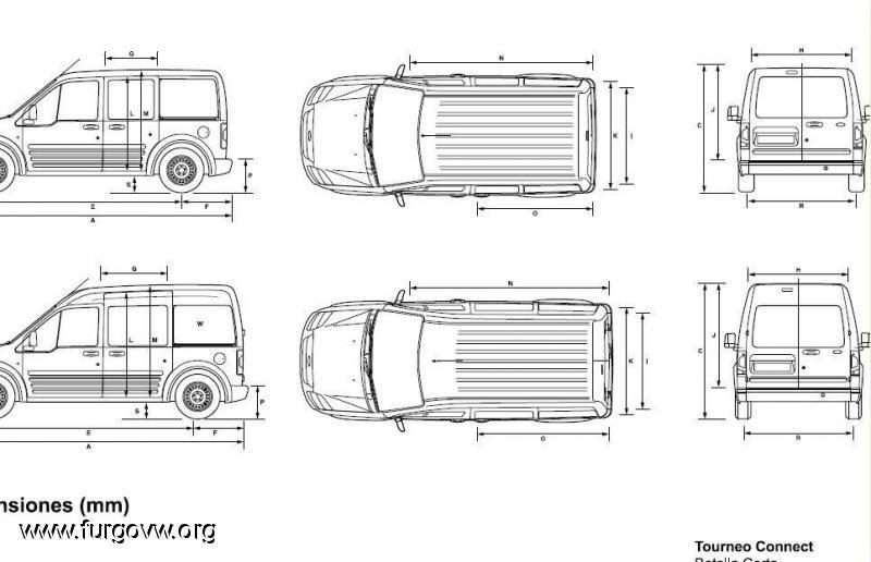Medidas ford tourneo connect 1 furgocampers y caravanas pinterest furgoneta camper - Medidas interiores furgonetas ...