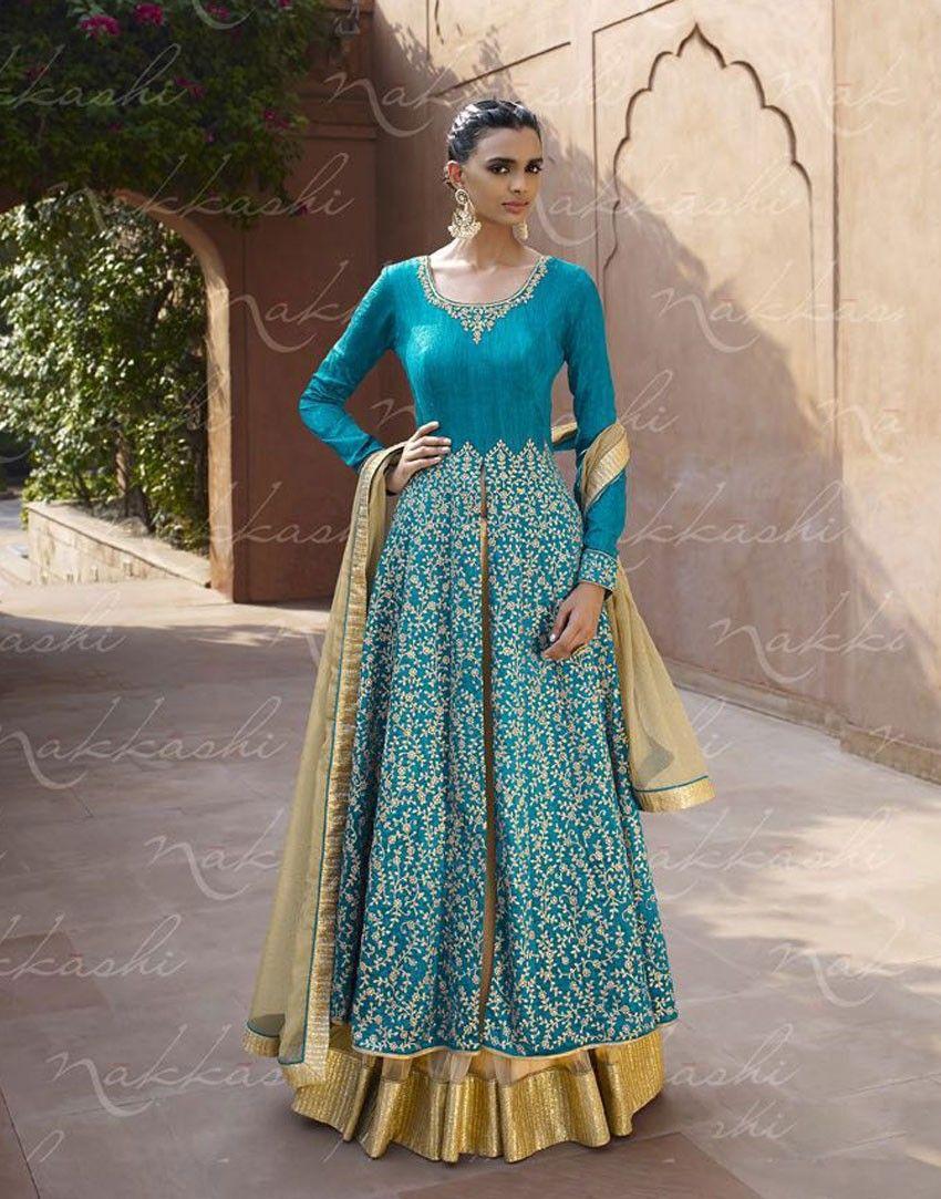 Turquoise designer Indian wedding wear anarkali suit in silk for ...
