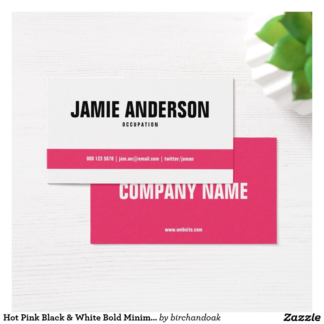 Hot Pink Black & White Bold Minimal Business Card | Pinterest ...