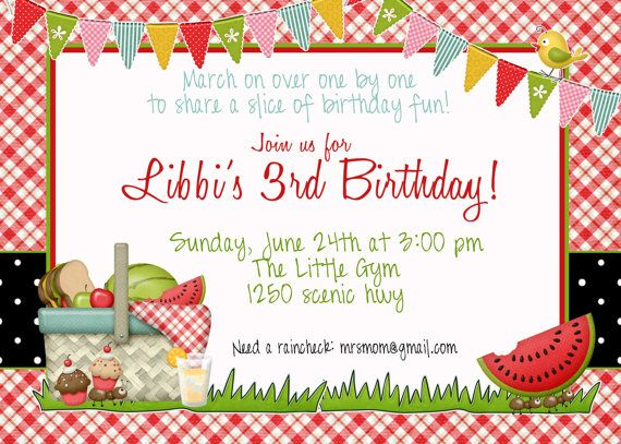 Picnic Invitation  Picnic  Wildlife  Nature Hike Birthday Party