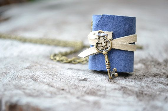 MiniatureBook Necklace key & blue leather by fullmoonn on Etsy, $7.00
