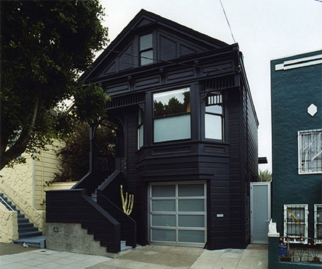 Garage exterior paint ideas - Cool Royal Exterior Paint Ideas Feature With Black Wooden Traditional Made Of Hardwood And Garage Gray