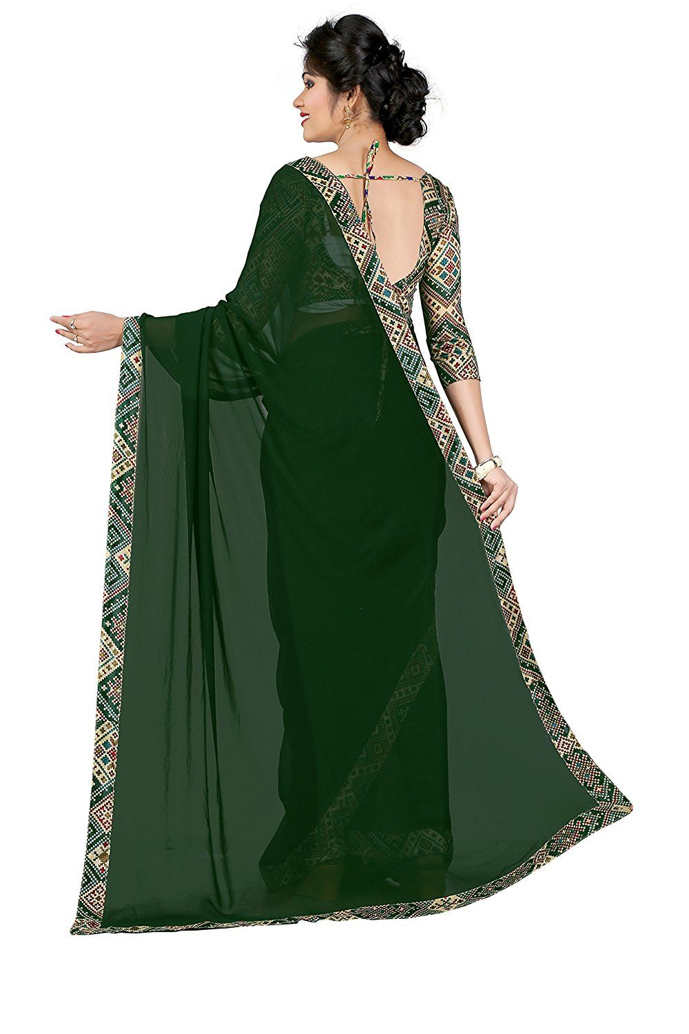 811fbe64678c63 Georgette Plain Saree - Pine Green  Amazon.in  Clothing   Accessories