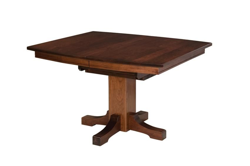 Amish Frederick Single Pedestal Mission Table With Two Extensions Keystone Collection The