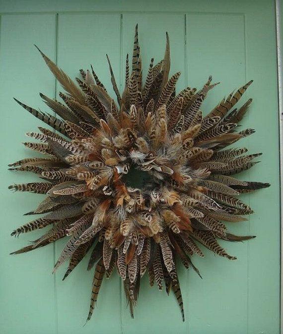 pheasant feather wreath  wall decor