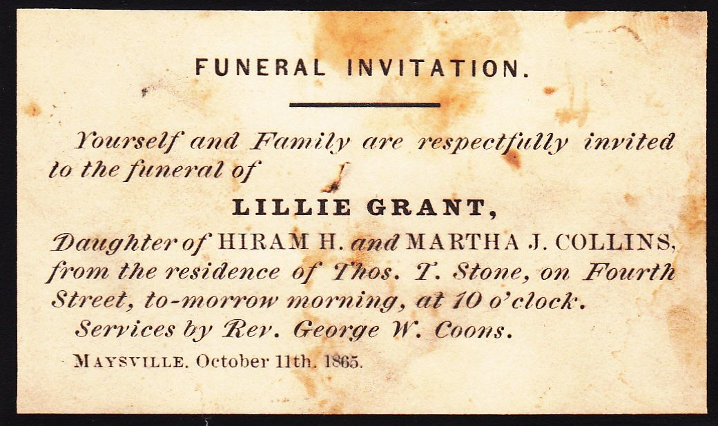 Antique Funeral Invitation,Lillie Grant | Morte | Pinterest | Funeral
