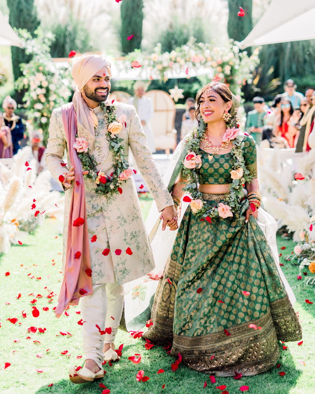 This Couple Planned A Colorful Indian Wedding In San Miguel Mexico Indian Wedding Outfits Groom Outfit Indian Bride And Groom