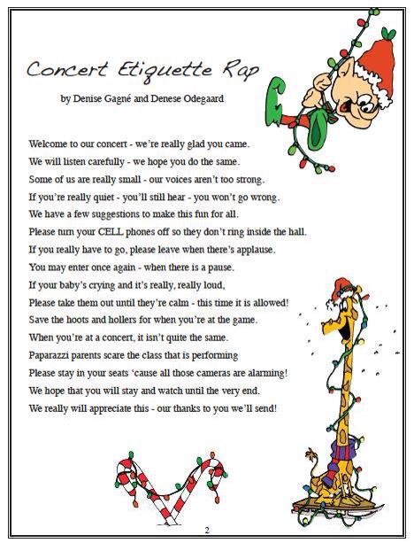 Concert Etiquette Rap Posted By Denise Gagne On Facebook