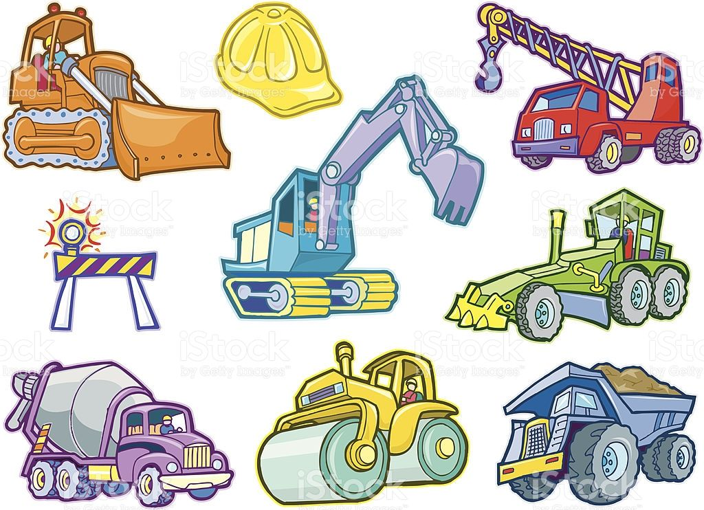 These Cartoon Illustrations Of Various Construction Vehicles Are