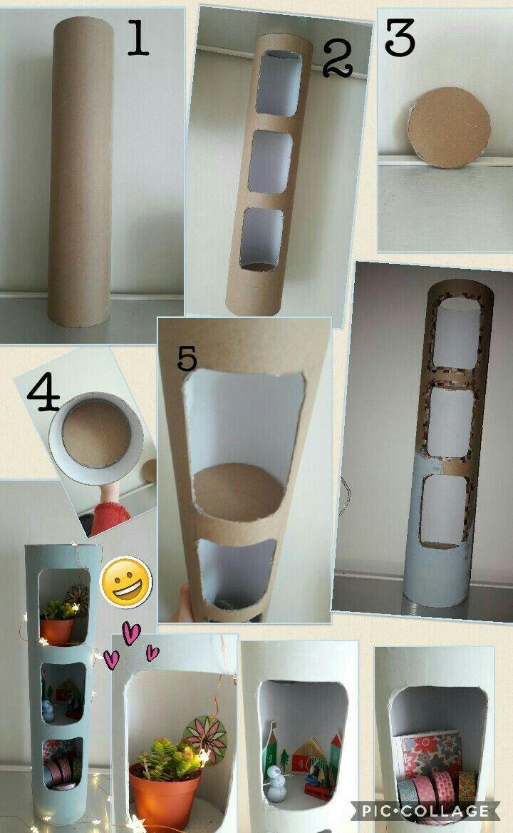Fabriquer Une Bibliothèque En Carton mini étagère à partir d'un tube en carton // diy récup