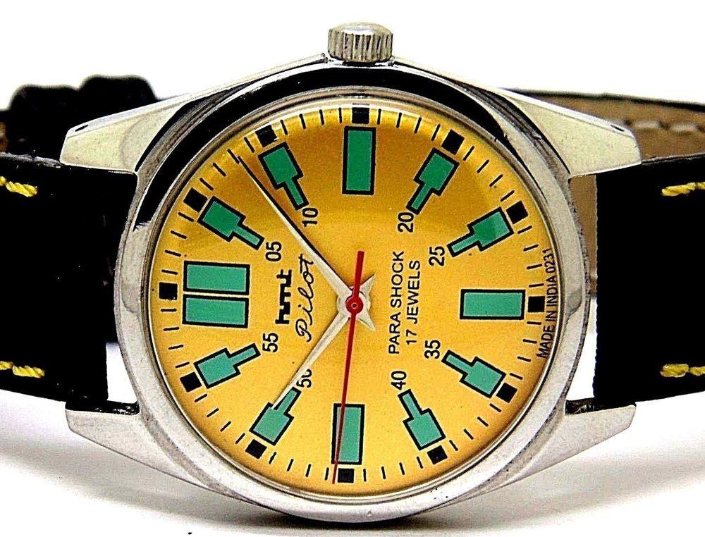 hmt pilot hand winding men's steel golden dial vintage india