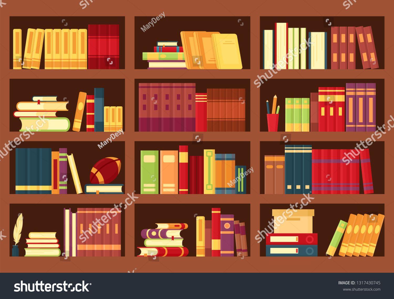 Vector Illustration Of Wooden Bookshelves With Books Pencils Pile Textbooks Magazines In Flat Style Bo Custom Bookshelves Bookshelf Inspiration Bookshelves