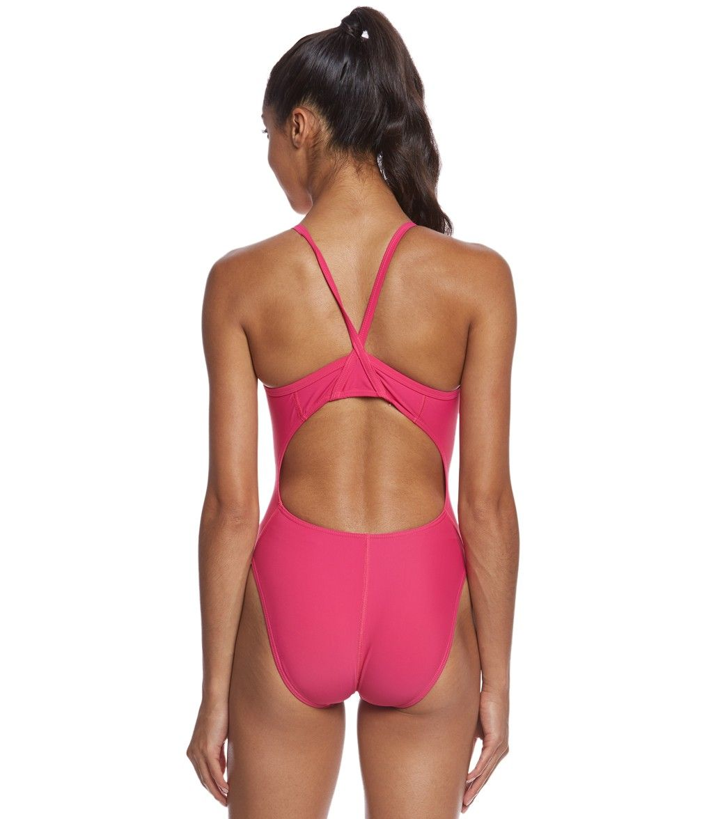 Sporti Solid Thin Strap One Piece Swimsuit at SwimOutlet.com - The Web's Most Popular Swim Shop
