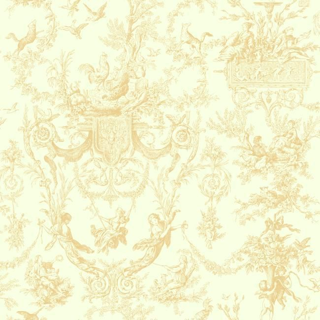York AT4239 Beige Book Old World Toile Wallpaper