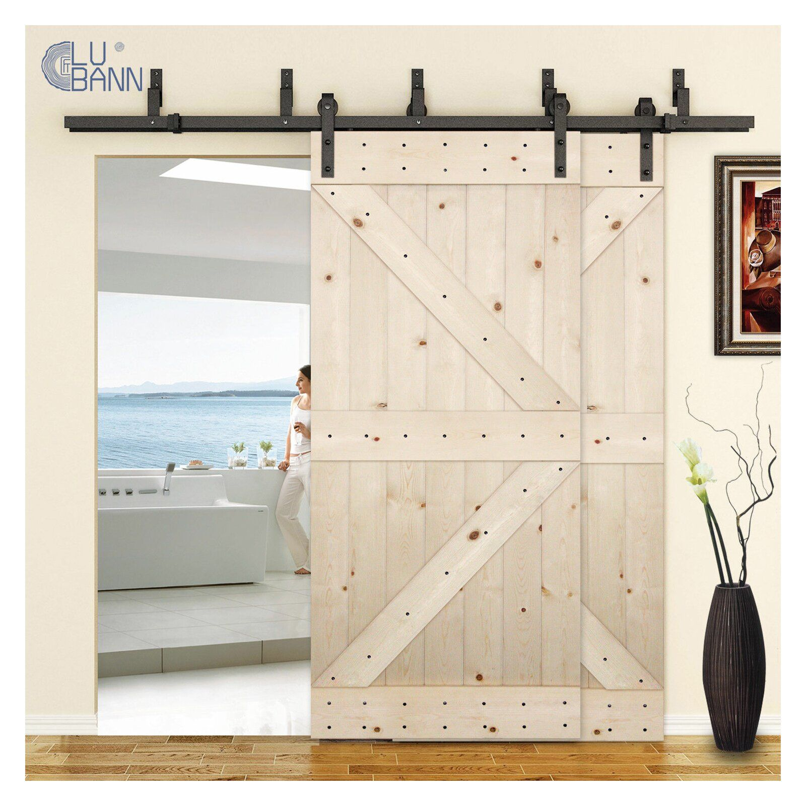 Bypass Double Door Sliding Hardware Kit