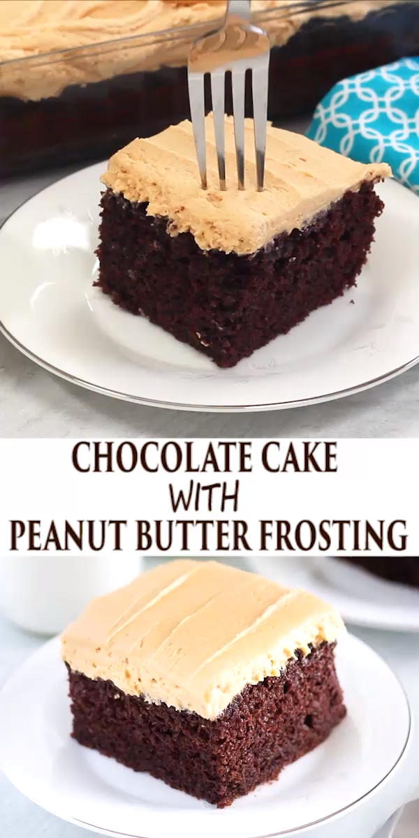 Chocolate Cake with Peanut Butter Frosting #peanutbuttersquares