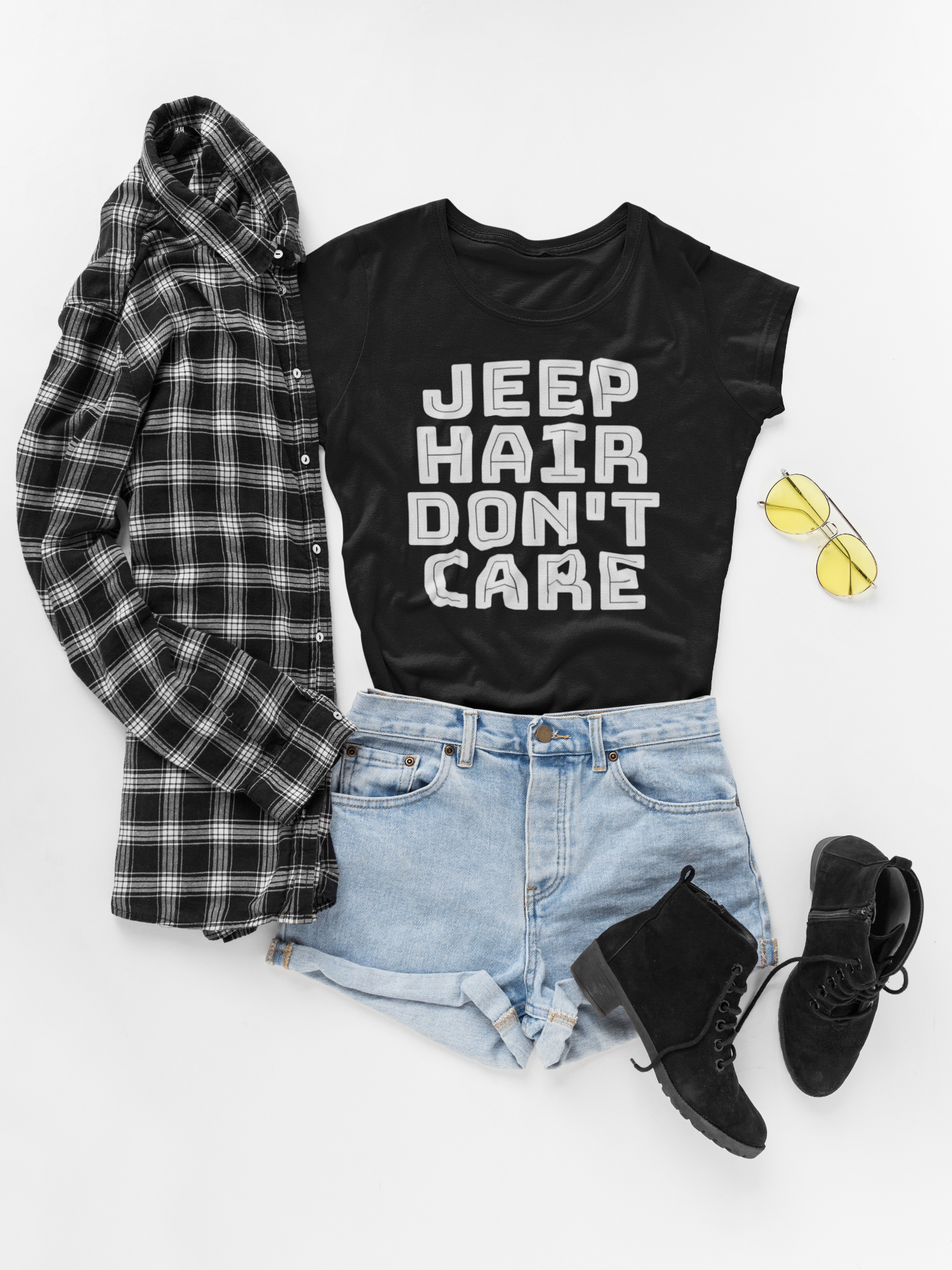 4e0d3774 Jeep Hair Don't Care Womens T Shirt - Jeep Life - Girls Who Love Jeeps -  Trending T Shirt - Jeep Women's Tee