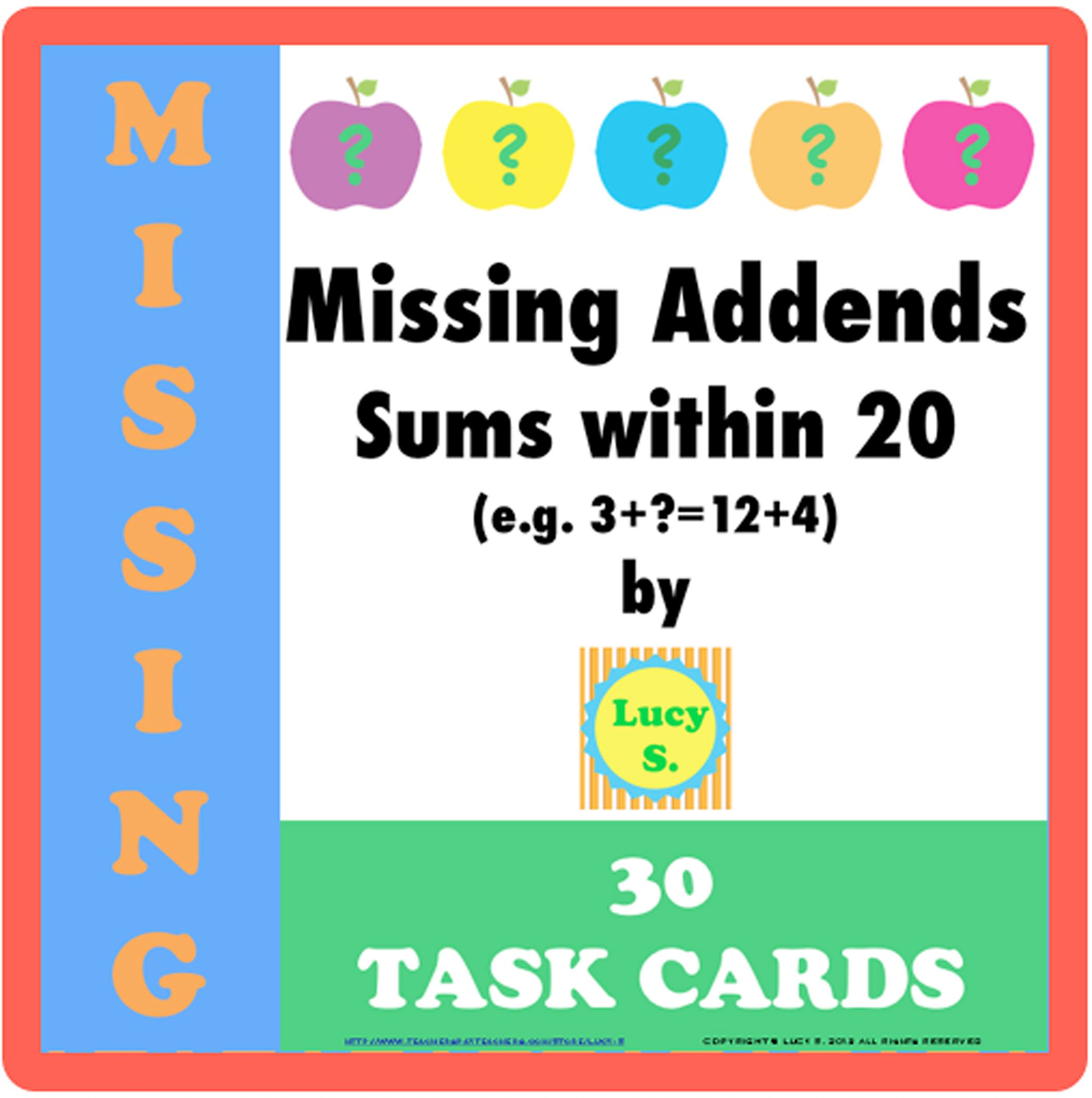 APPLE-themed task cards - let the kids have fun balancing equations -  addition