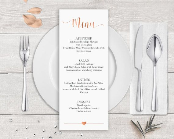 Menüvorlage Rose Gold Rose Gold Hochzeit Karte Menüvorlage - dinner party menu template
