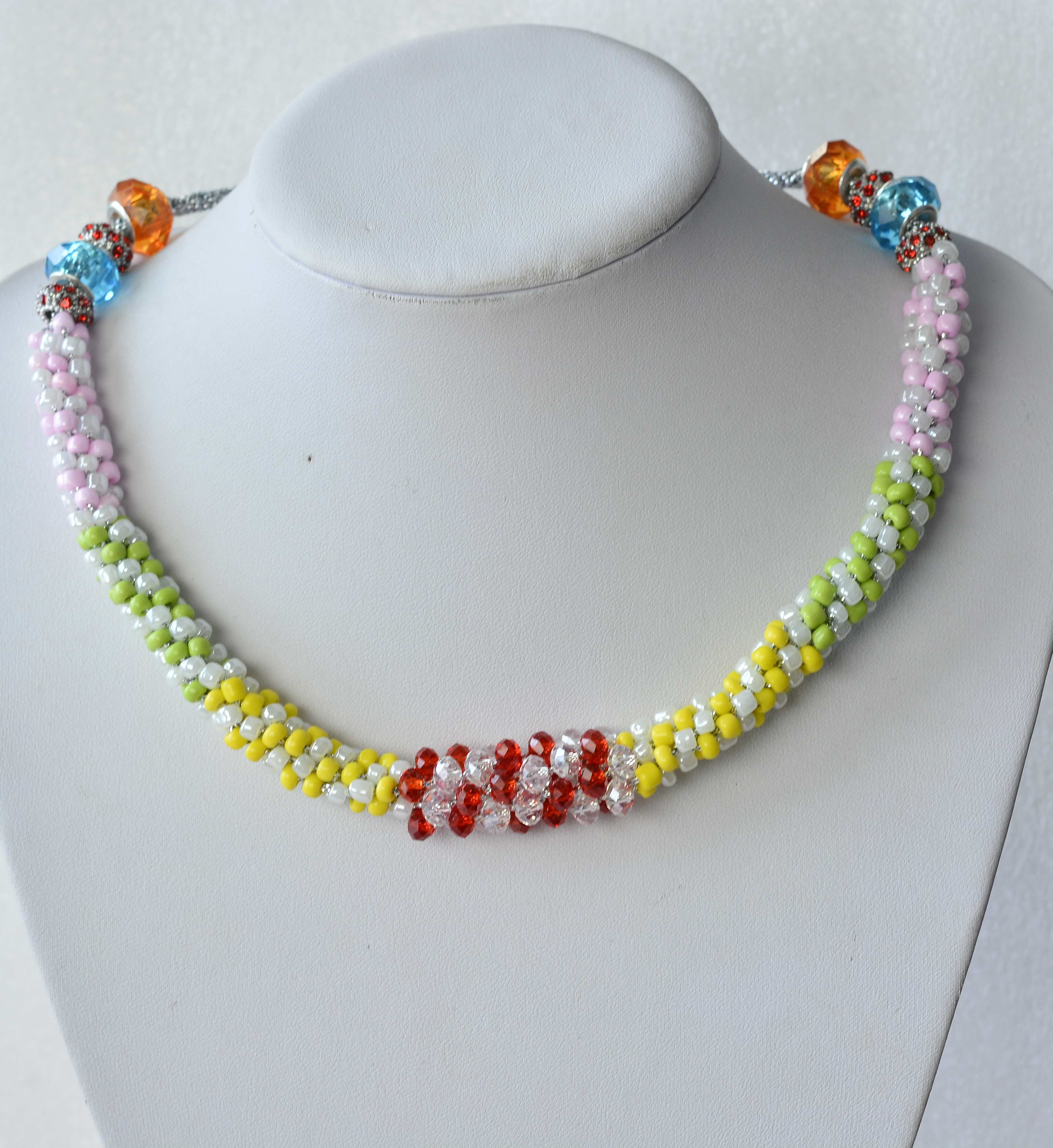 Diy Colorful #Necklace With #Beebeecraft Seed Beads And Glass Beads