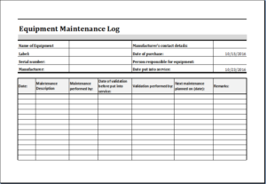 Equipment Maintenance Log Download At HttpWwwTemplateinnCom