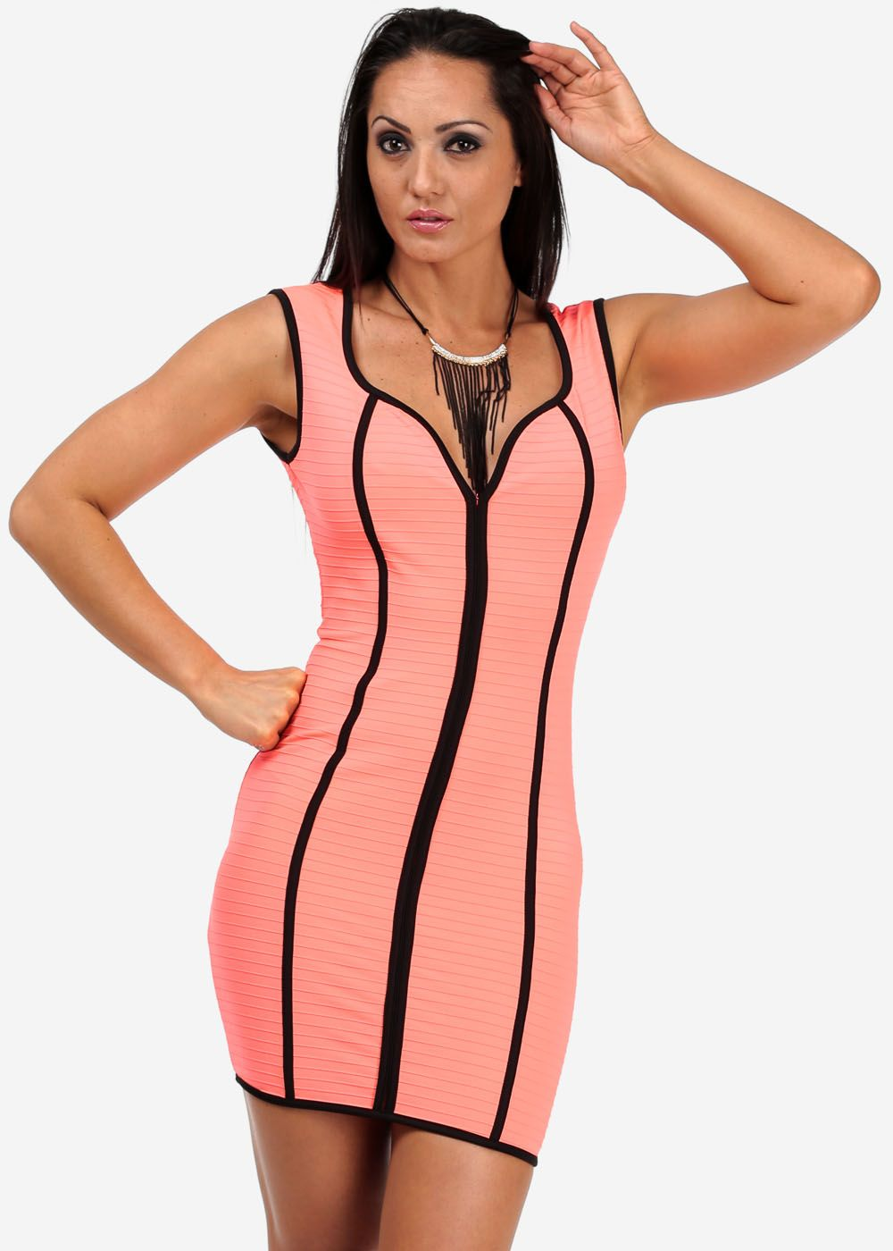 Fashion Dresses-Cute Retro Dress-Neon bodycon dress