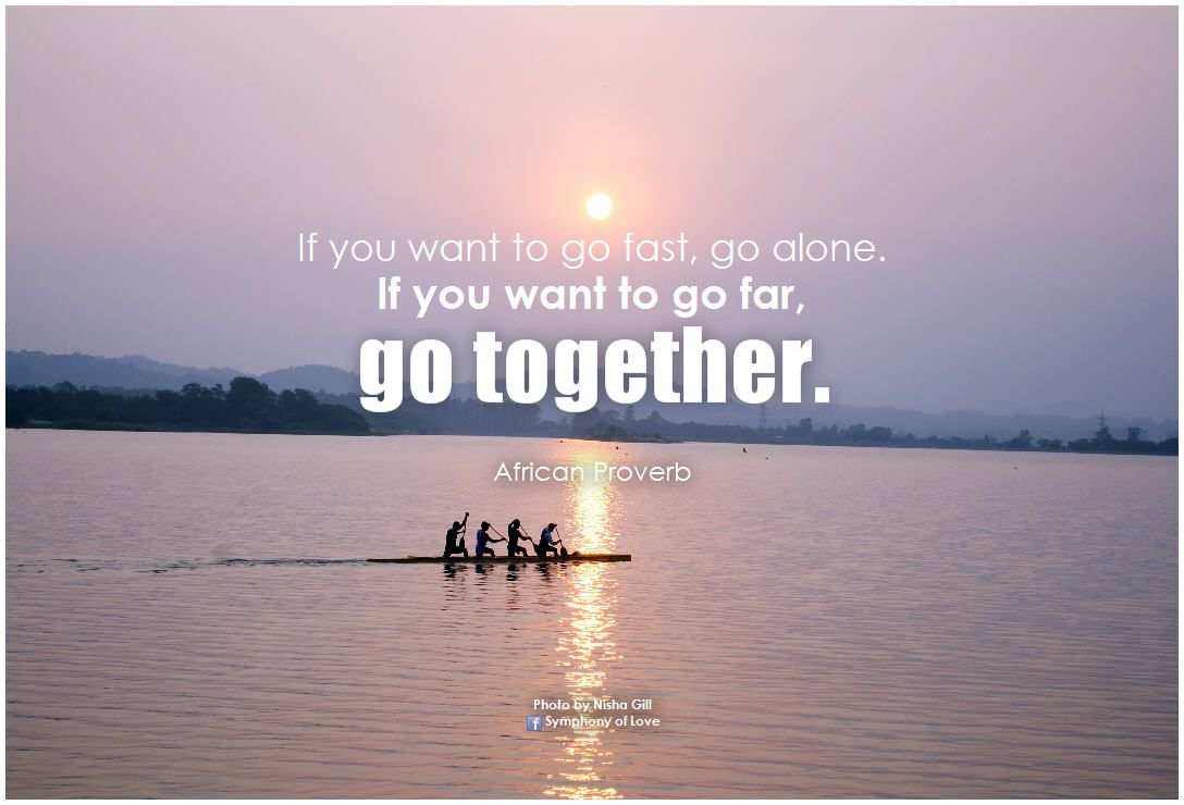 If You Want To Go Fast Go Alone If You Want To Go Far Go Together African Proverb Quotes