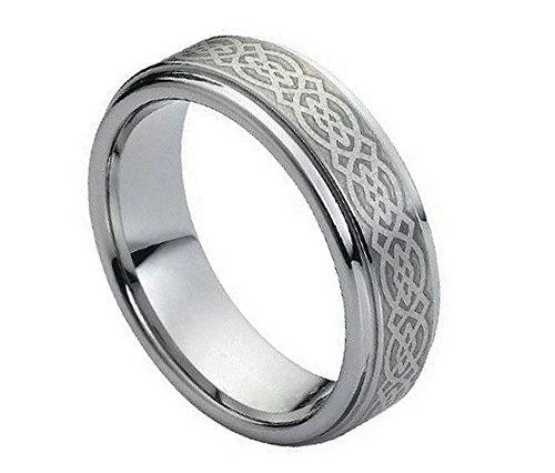 6 mm Mens Tungsten Carbide Rings Engraved Celtic