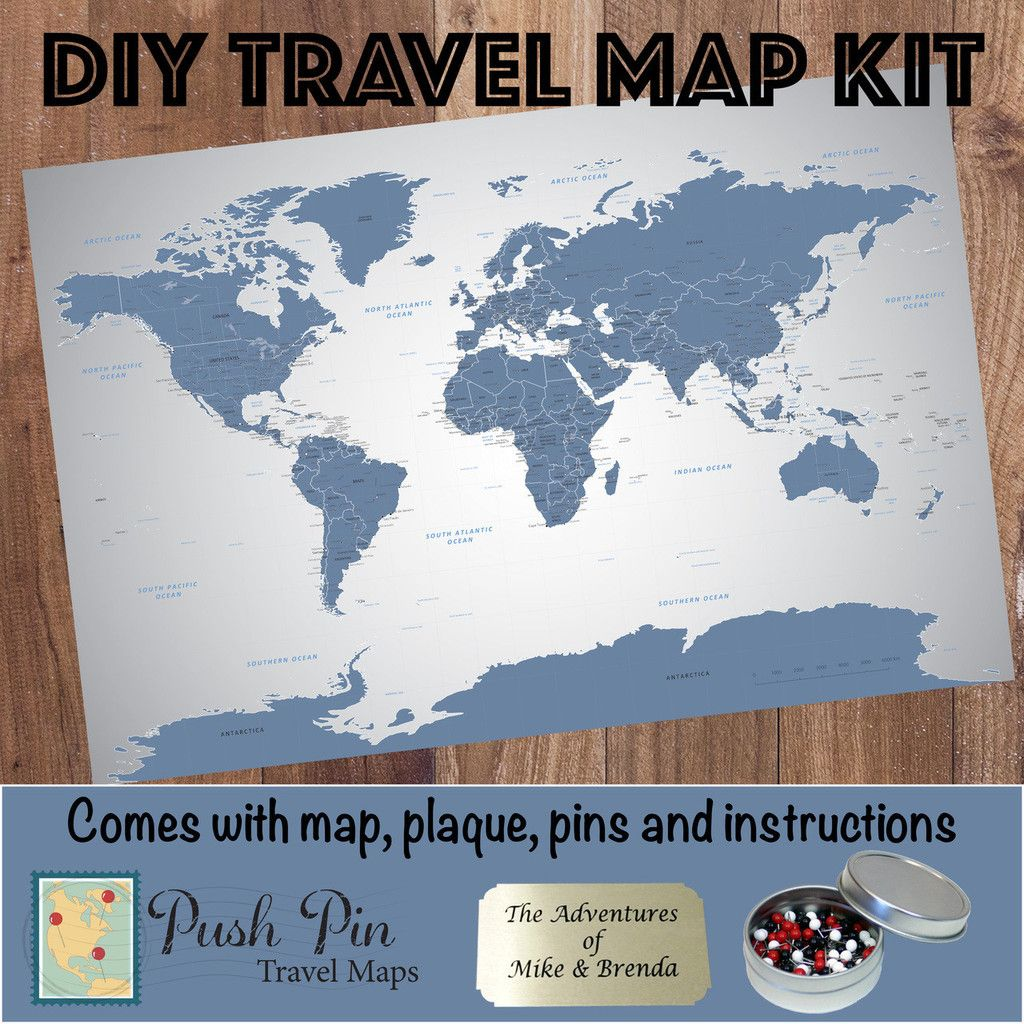 Diy blue ice world push pin travel map kit travel maps blue ice world travel map kit our exclusive design this one of a kind world map will liven up any wall in your home office or business gumiabroncs Images