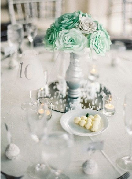 Wedding Table Decor In Mint Green And Silver Handmade Coffee Filter Flowers