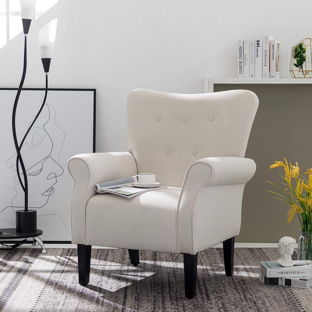 Simhoo Club Accent Chair Wingback Side Chairs Modern Linen Fabric