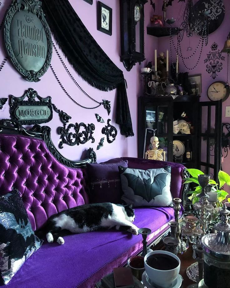 """Goth Decor on Instagram: """"This is a magnificent room for tea. . . . #Repost @queenie_pocketfullofposiez ・・・ Cat in the Bat room. Mr Meow's room of choice to sloth in…"""""""