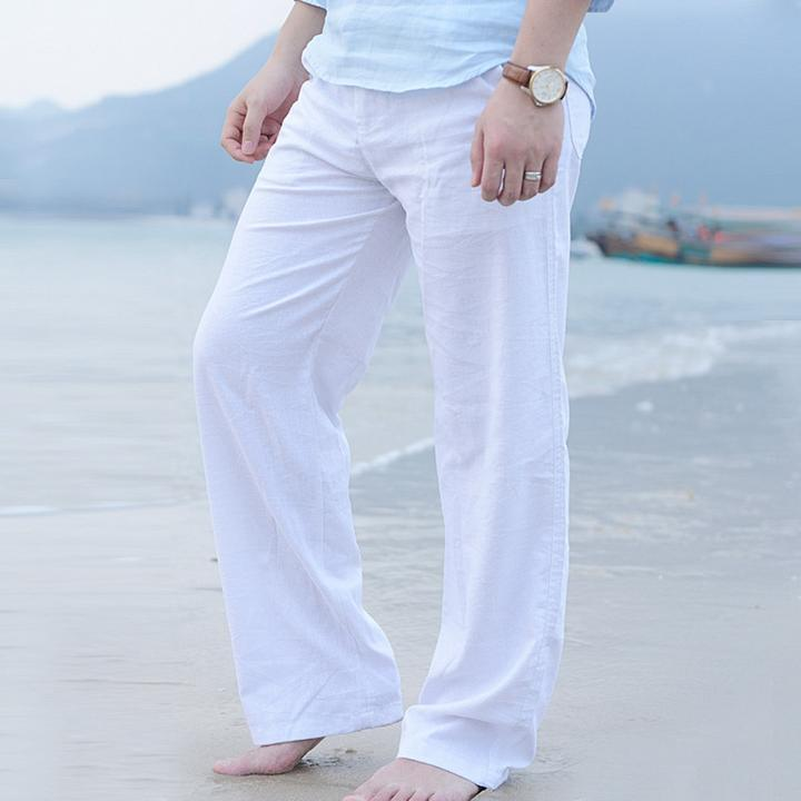 Men/'s Cotton Loose Pants Drawstring Yoga Elastic Waist Straight Linen Trousers