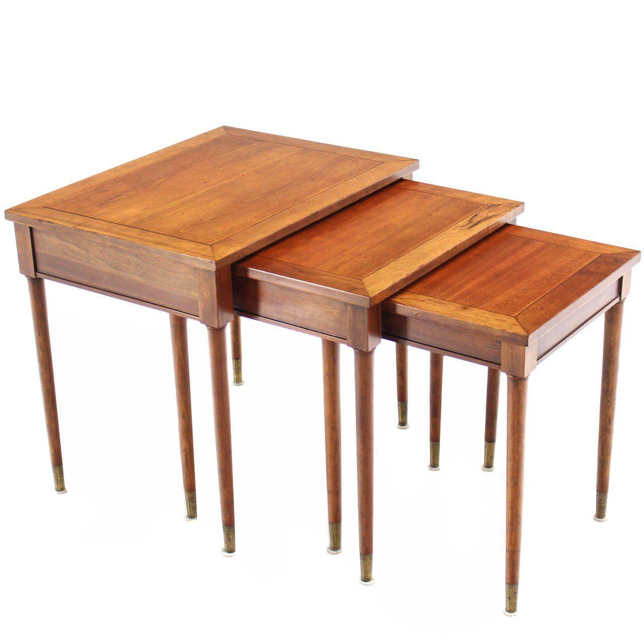 Modern Walnut Nest Of Tables