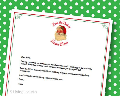 Letter From Santa  Free Printable Stationery  Printable Letters