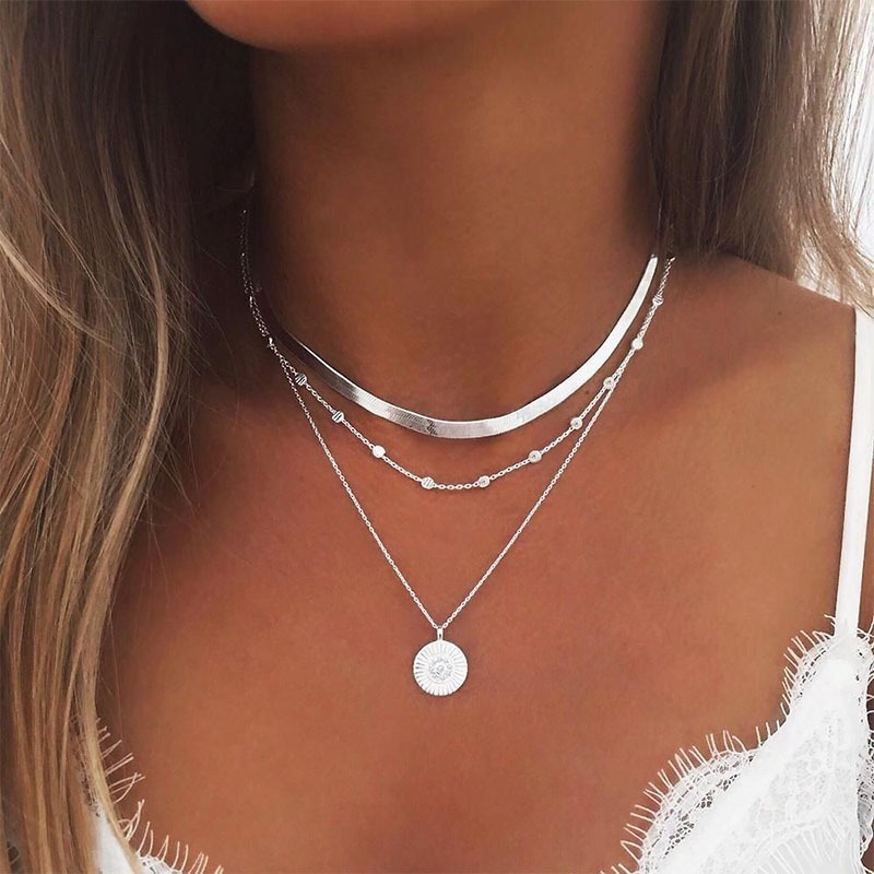 Photo of Fleepmmart Lotus Necklaces Jewelry Personalized Girl Silver Color Bohemia Alloy Necklace Multilayer Chain Women Collares Collier