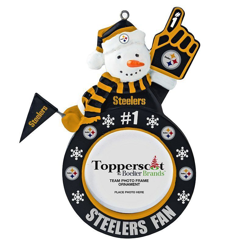 "Pittsburgh Steelers 3"" x 3"" Frame Snowman Christmas Ornament, Multicolor"