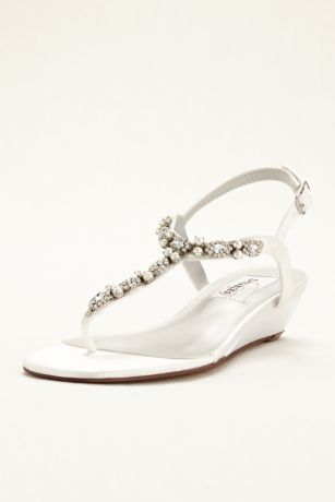 5de7188f7aa61d Myra Dyeable Low Wedge Thong Sandal - Davids Bridal