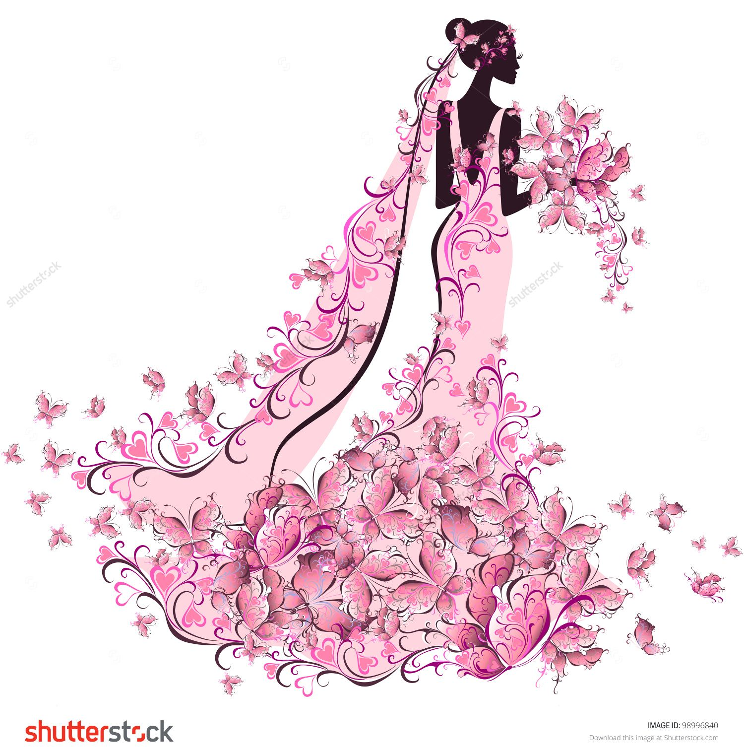 Bride in floral dress with butterfly | تصميم ازياء | Pinterest ...