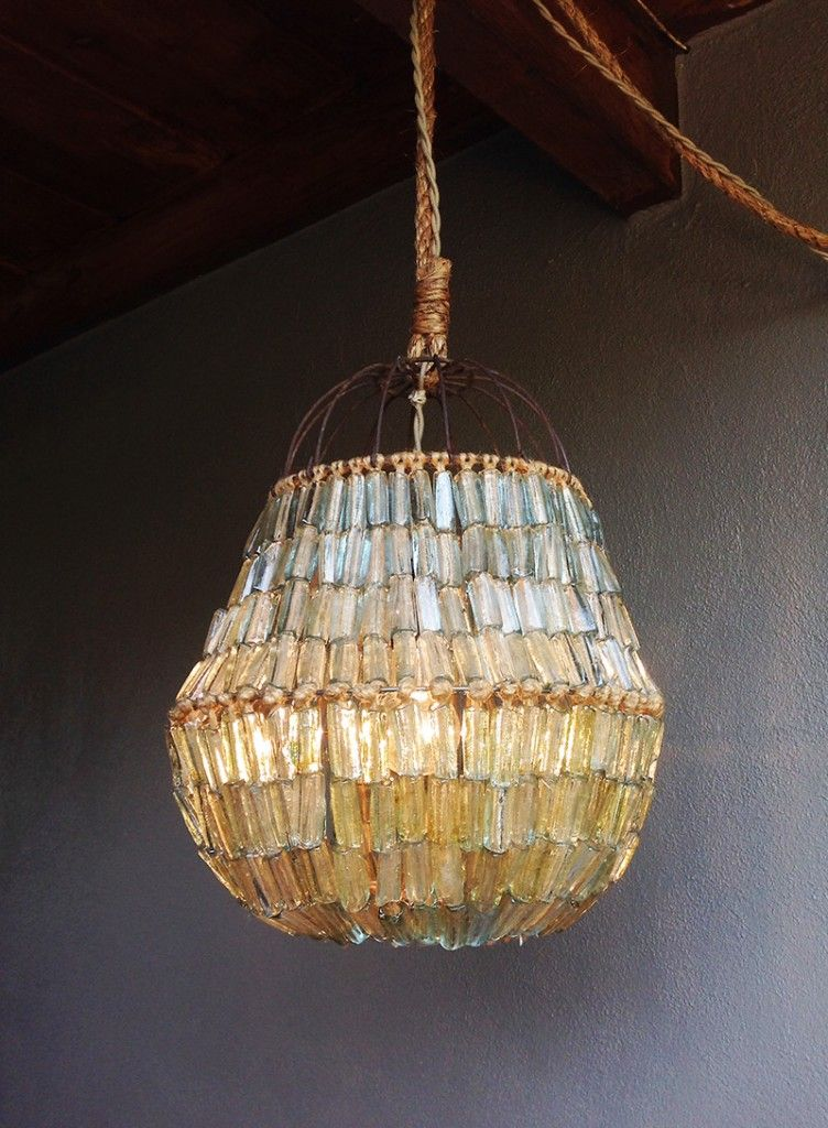 Chandelier made of hundreds of recycled french glass tubes